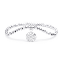 Load image into Gallery viewer, Silver Flower of Life Bracelet - 3mm Silver Beads