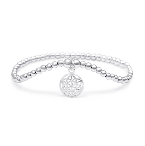 Silver Flower of Life Bracelet - 3mm Silver Beads