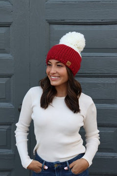 Red Color Block Pom Beanie