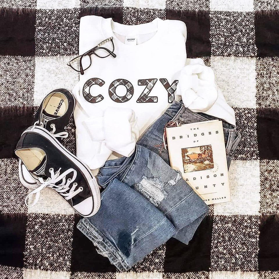 Cozy Plaid Crew Sweatshirt