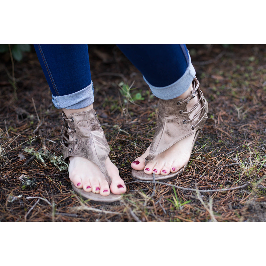 Bronze Lace Up Sandals