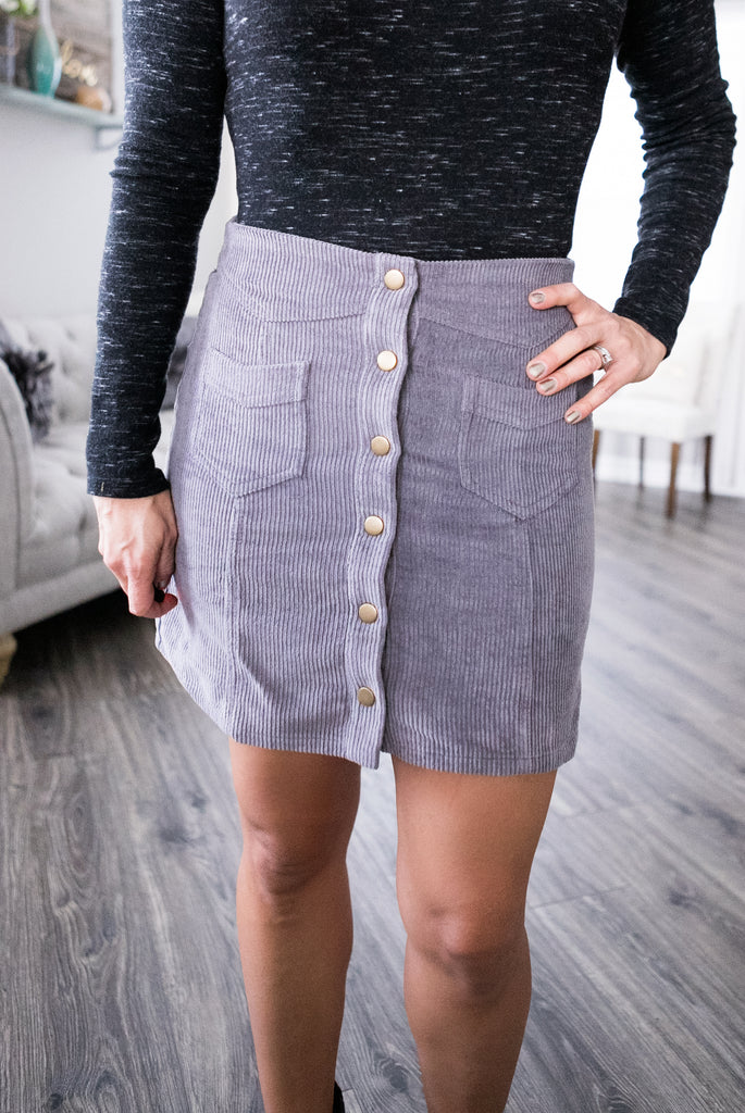 Gray Corduroy Button Skirt