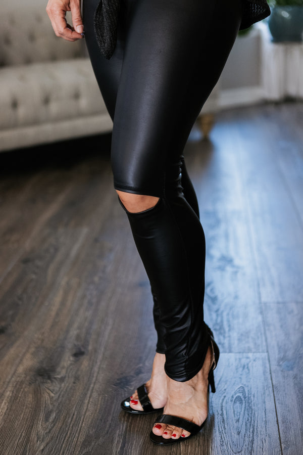 Faux Leather Slit Leggings