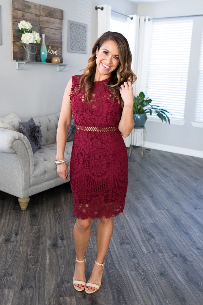 Merlot Crochet & Lace Dress