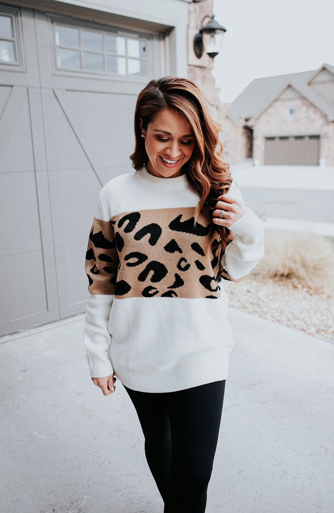 Leopard Color Block Sweater