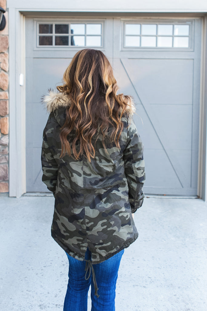 Camo Faux Fur Lined Jacket