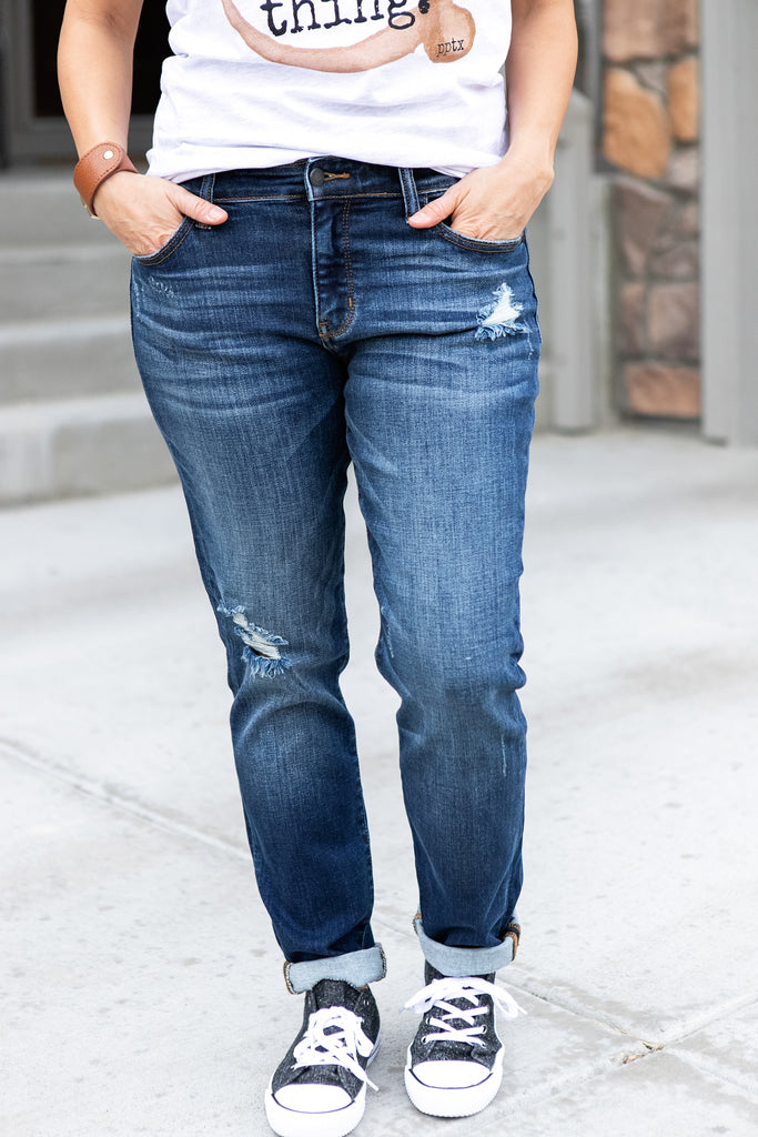 Slightly Distressed Tapered Slim Jeans