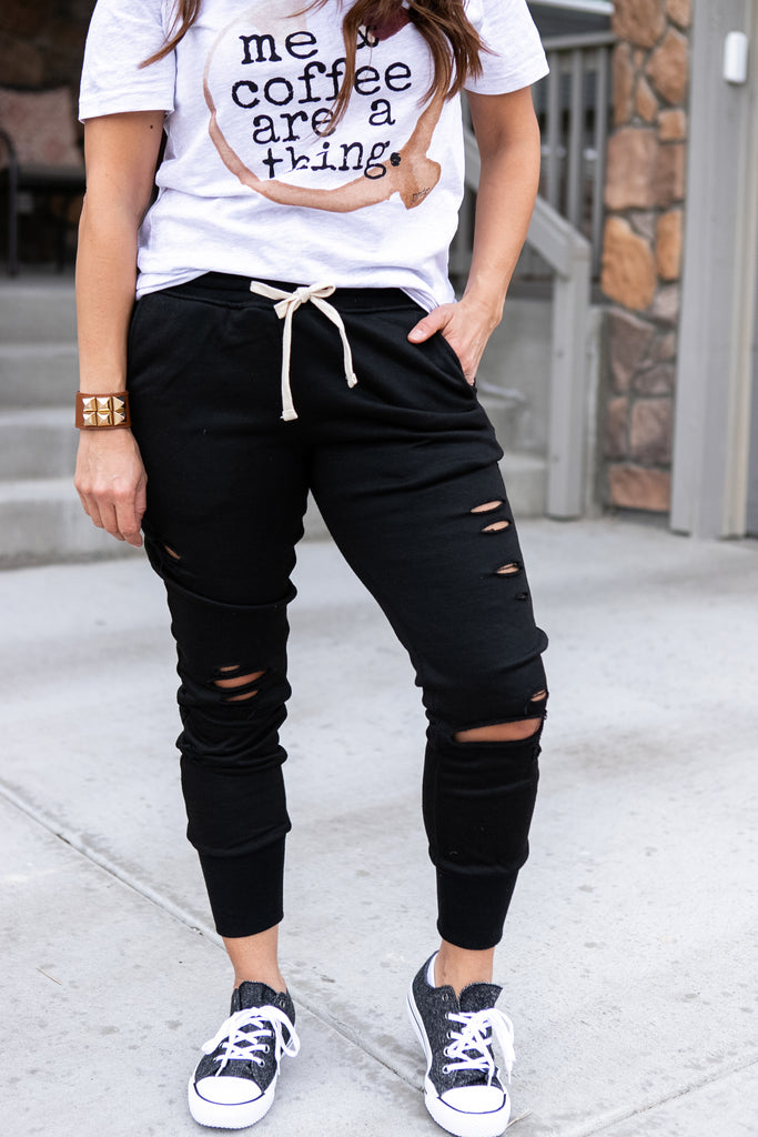 Black Distressed Joggers