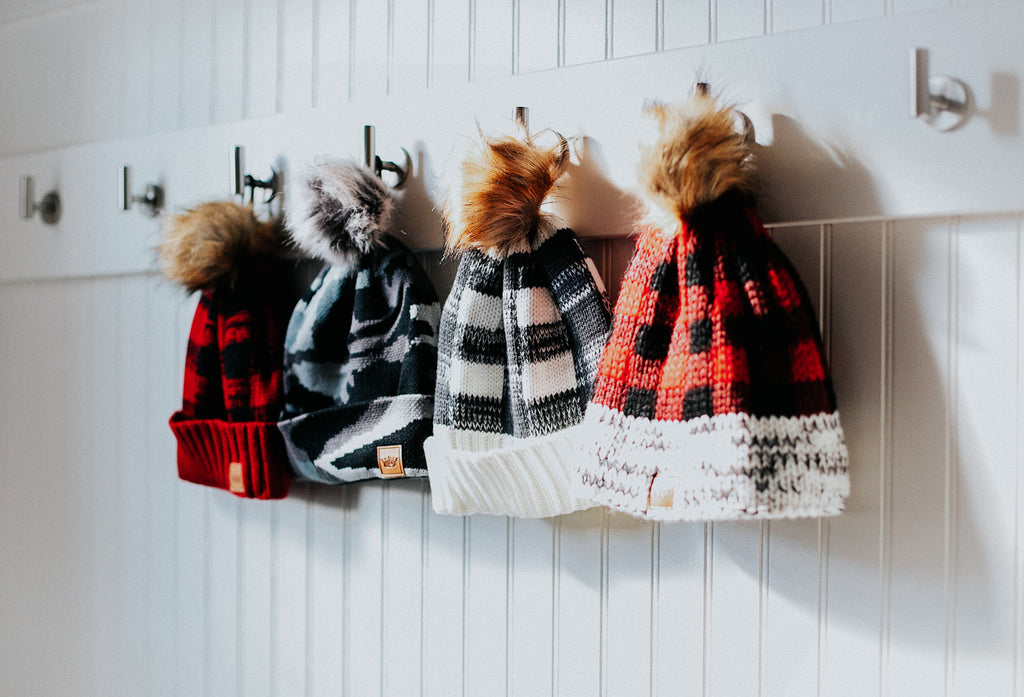 Plaid & Gray Pom Beanie
