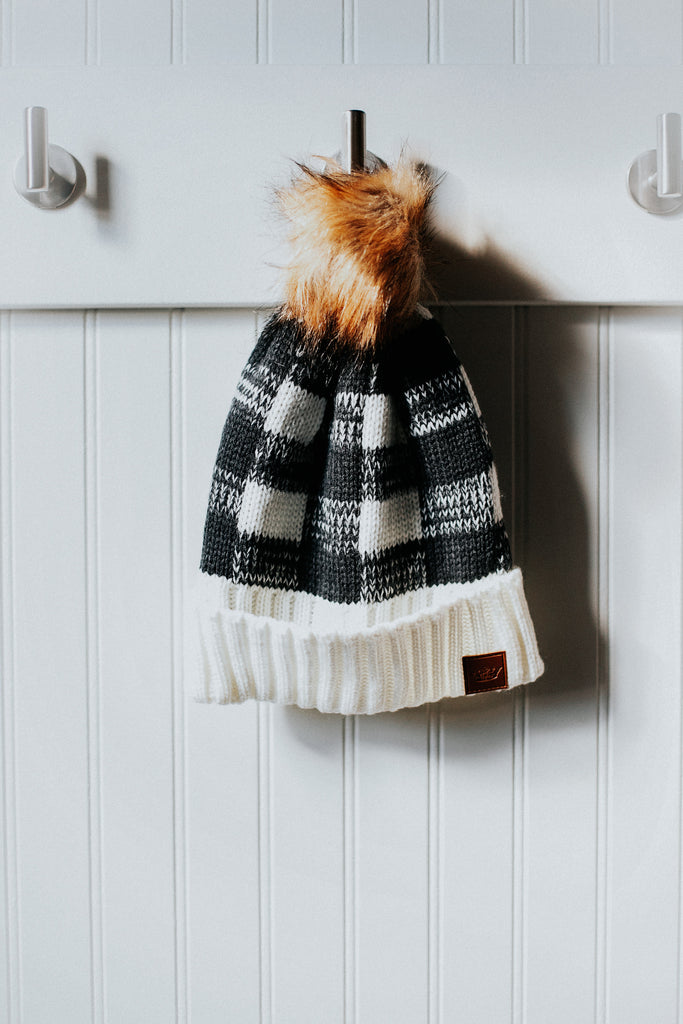 Gray and Black Pom Beanie
