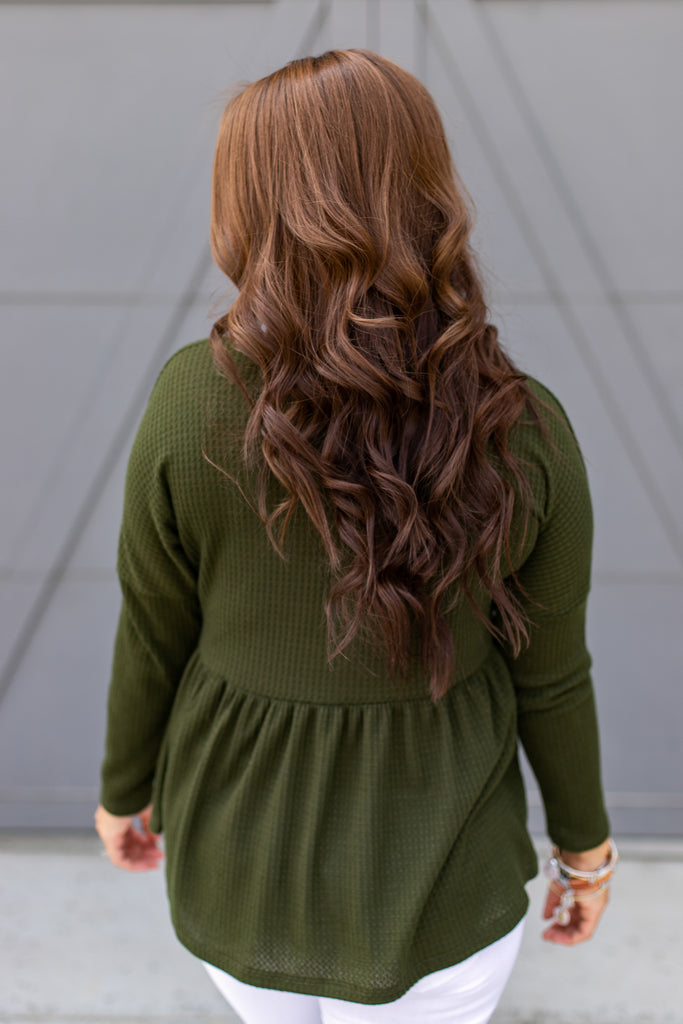 Olive Peplum Button Up