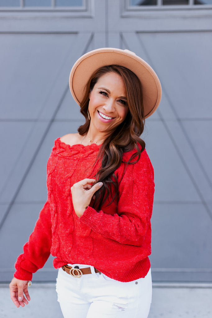 Rustic Red Off Shoulder Sweater
