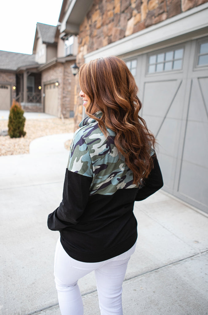 Camo Color Block Quarter Zip