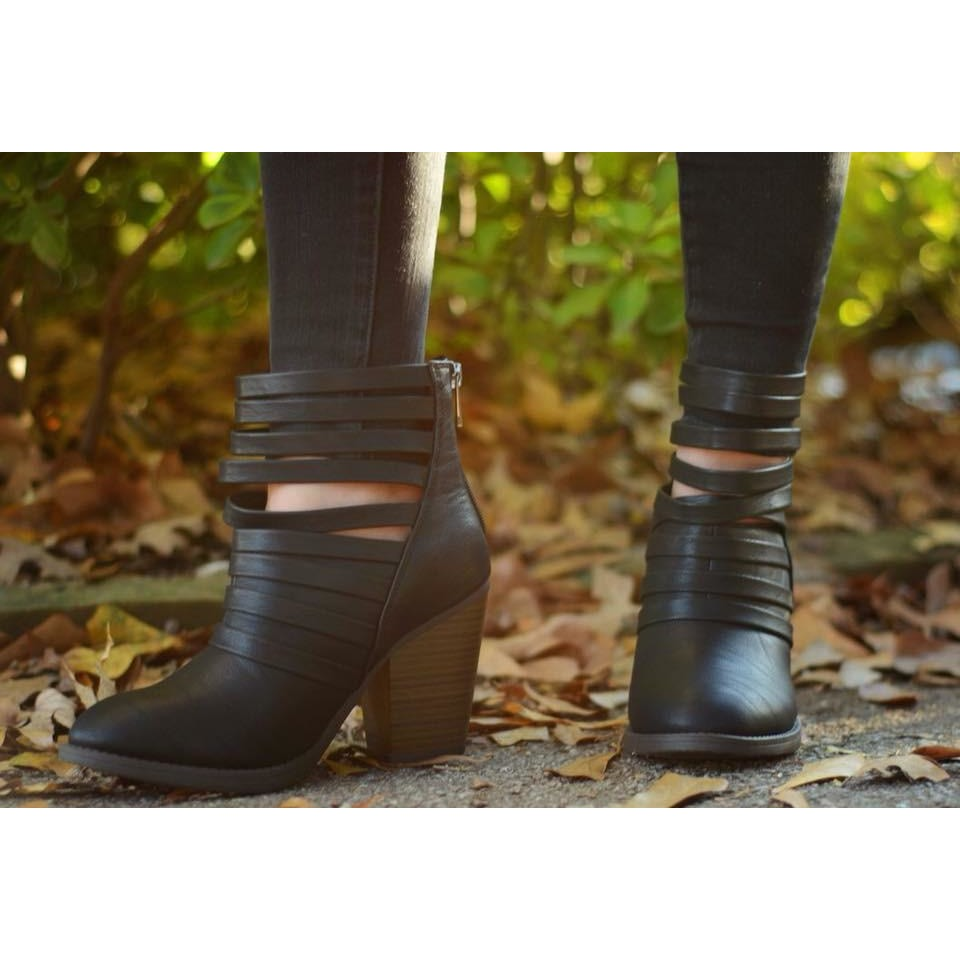 Black Strapped Booties