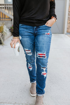 Plaid Patch Distressed Skinnies