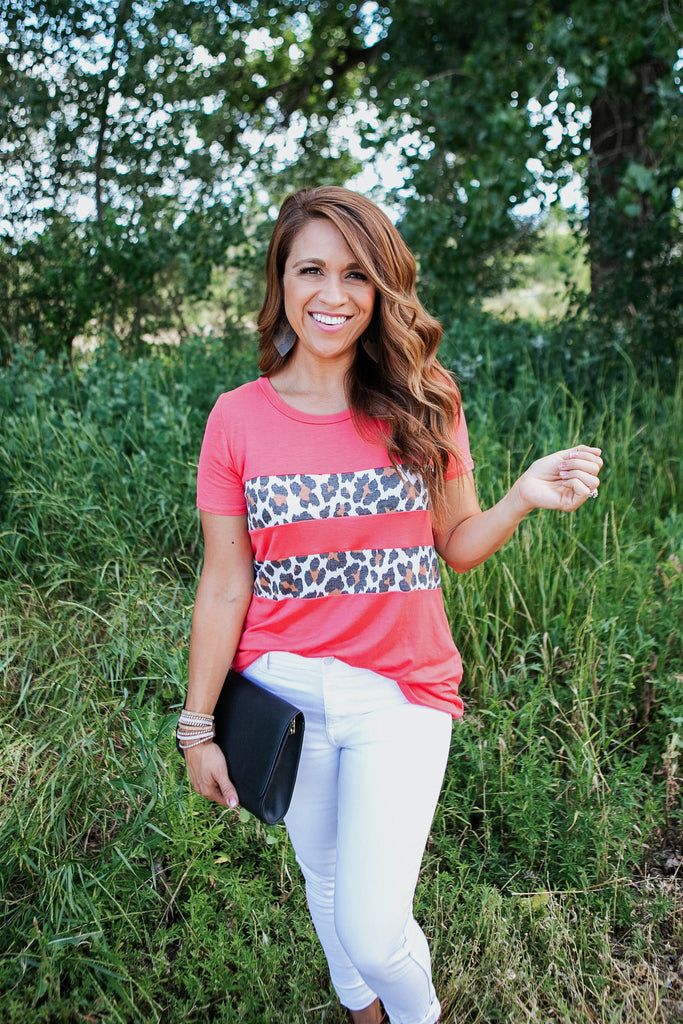 Leopard & Coral Colorblock Tee