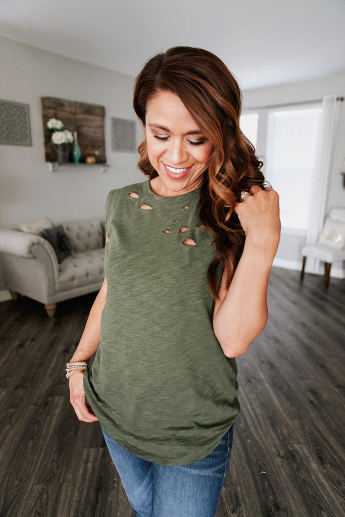 Distressed Olive Muscle Tee