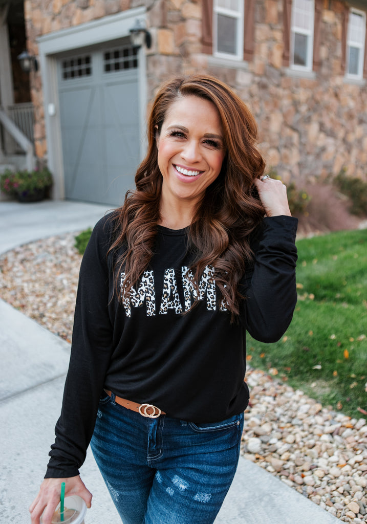 Mama Leopard Long Sleeve Top