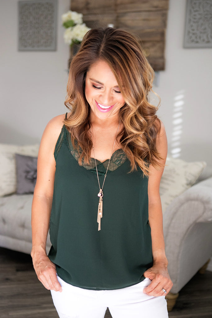 Hunter Green Lace Cami
