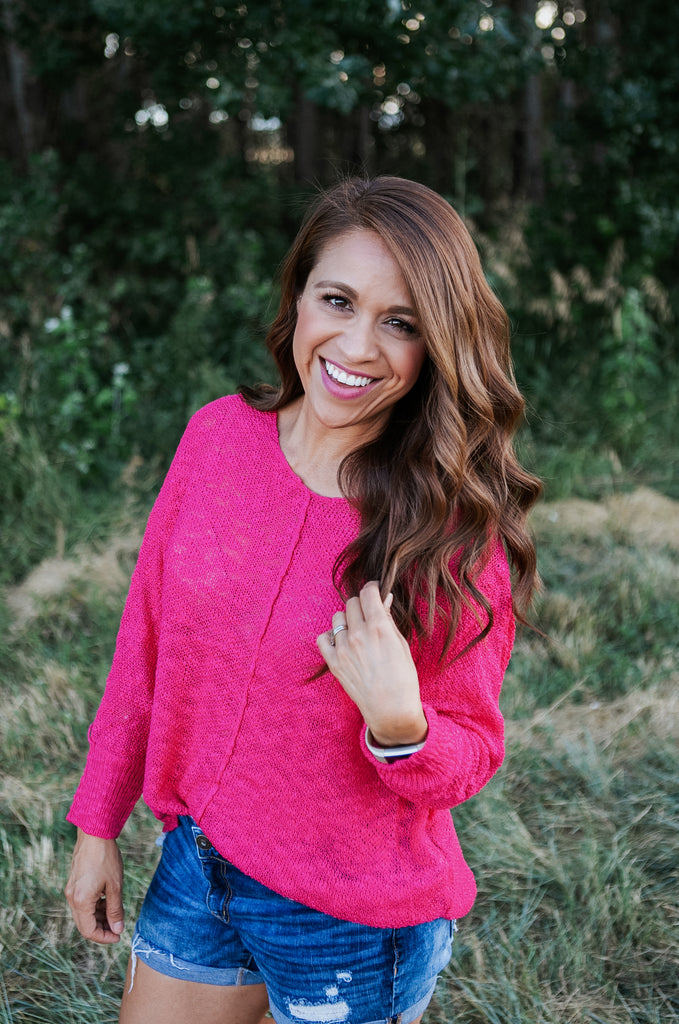 Hot Pink Loose Knit Sweater