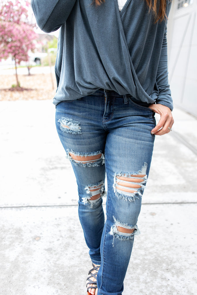 Ultra Distressed Mid Rise Skinnies