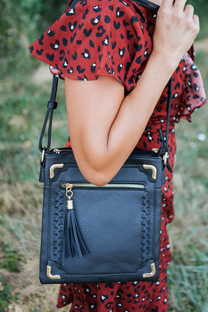 Black Braided Tassle Cross Body