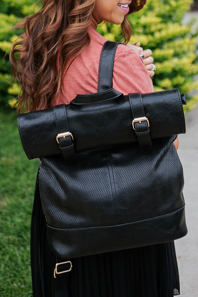 Buckle Vegan Leather Flap Backpack