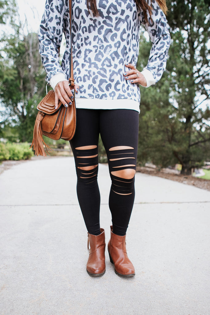Laser Distressed Leggings - Reg & Plus