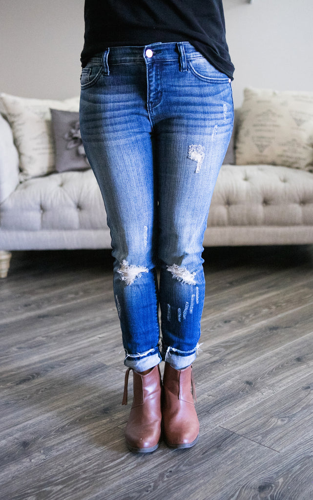 Perfect Distressed Hem Skinny Jeans