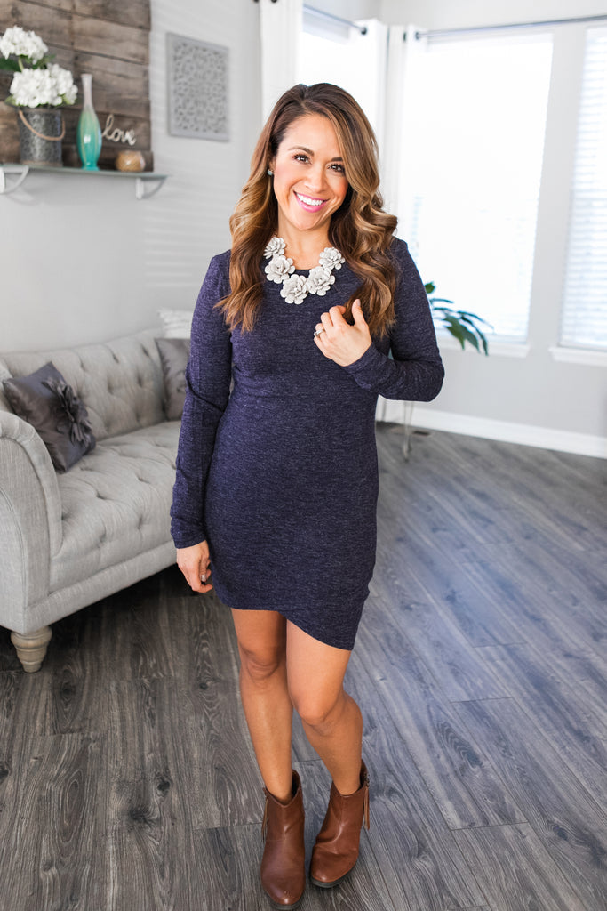 Navy Petal Hem Sweater Dress