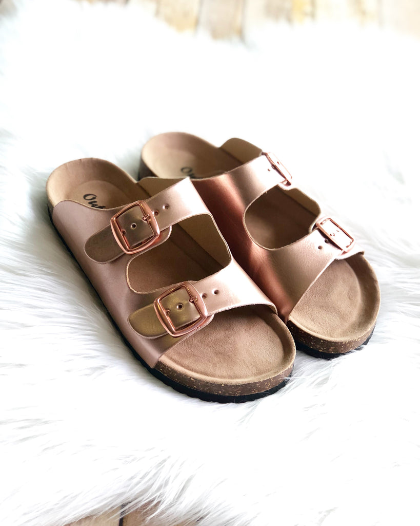 Rose Gold Double Strap Sandals