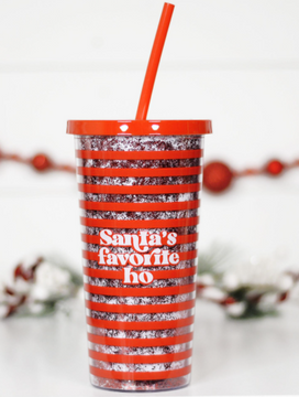 Santa's Favorite Ho Tumbler with Straw