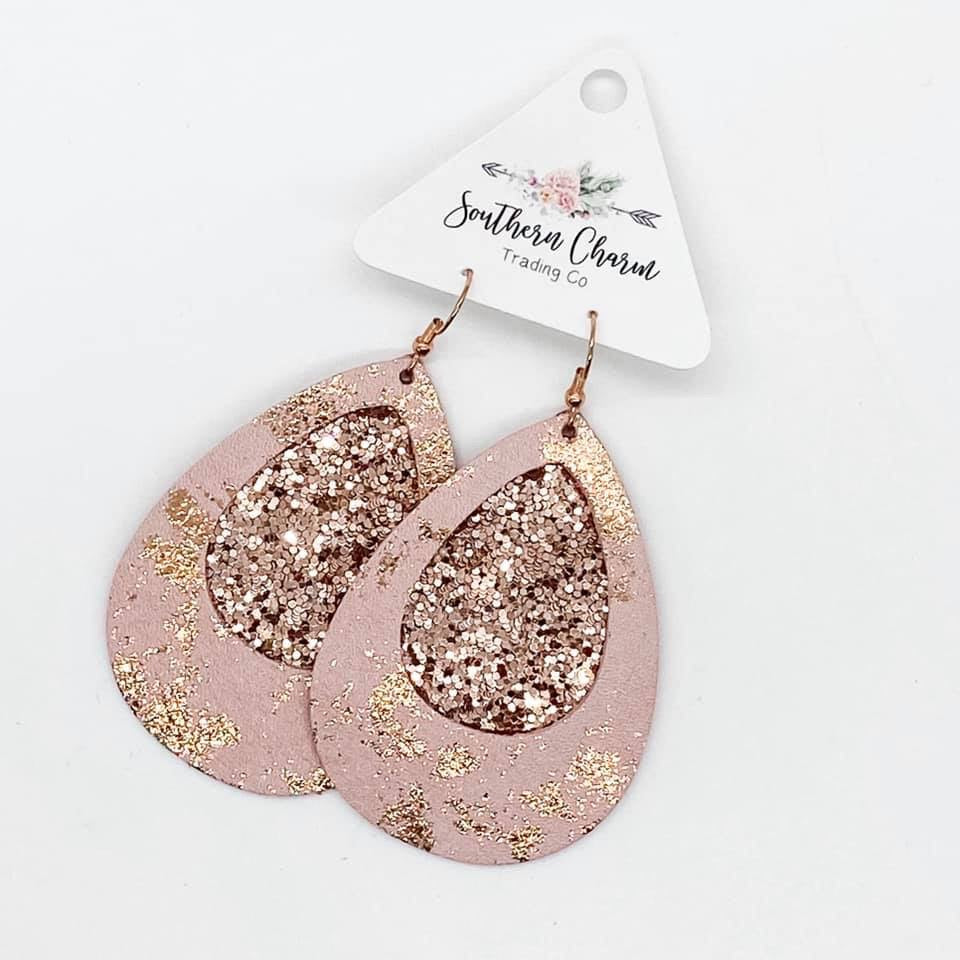 Rose Gold Splash Teardrop Earrings