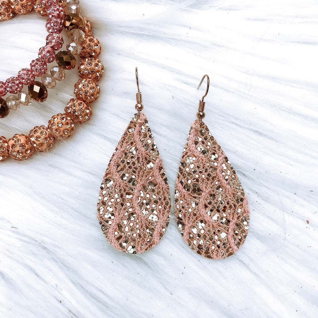Blush Lace Teardrop Earrings