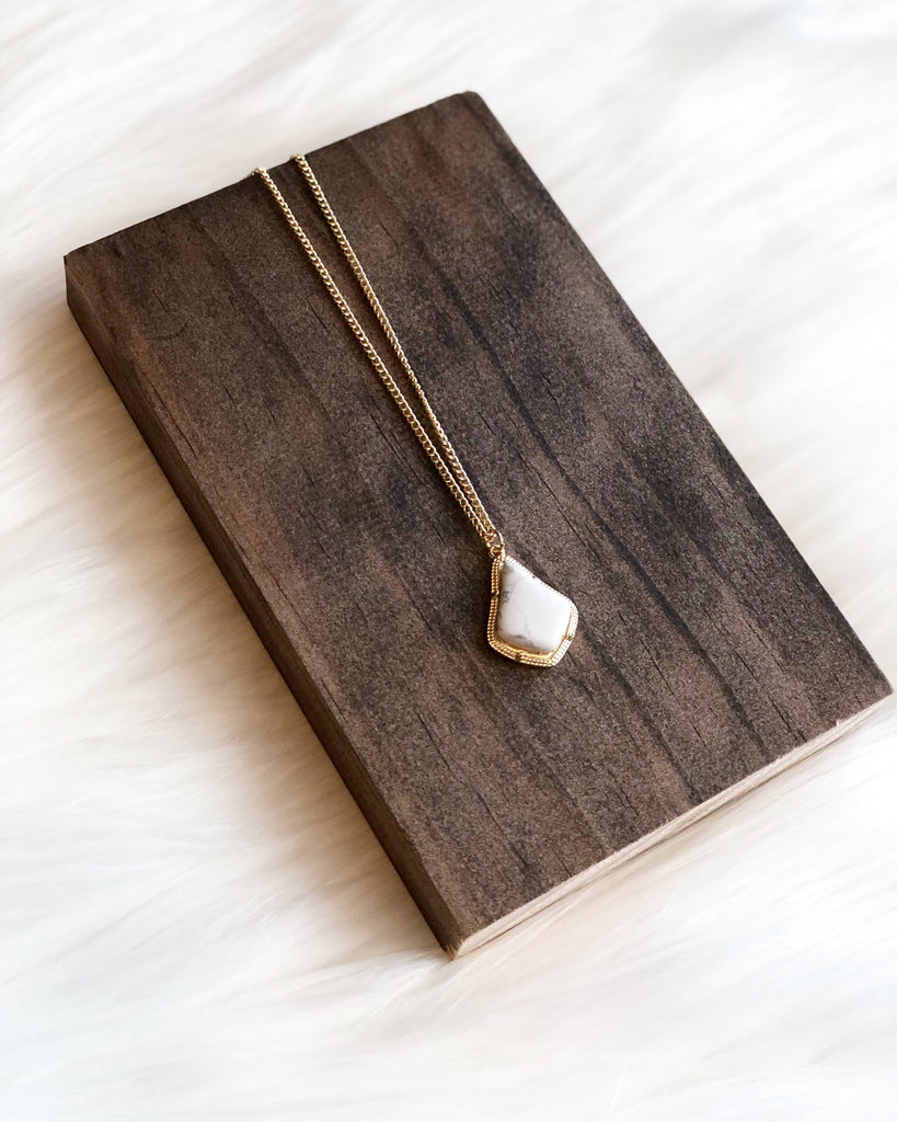 White Marble Pendant Necklace