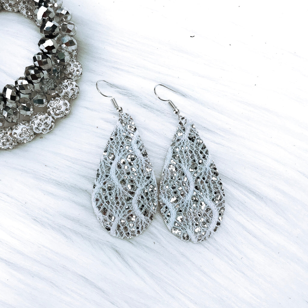 Silver Lace Teardrop Earrings