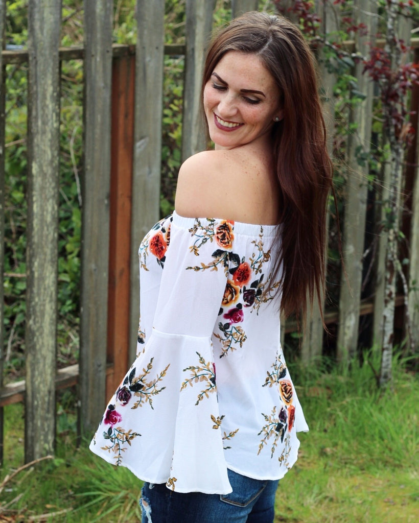 Floral & Cream Off Shoulder Top