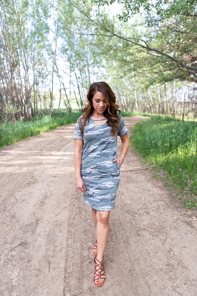 Camo Cut Out Dress