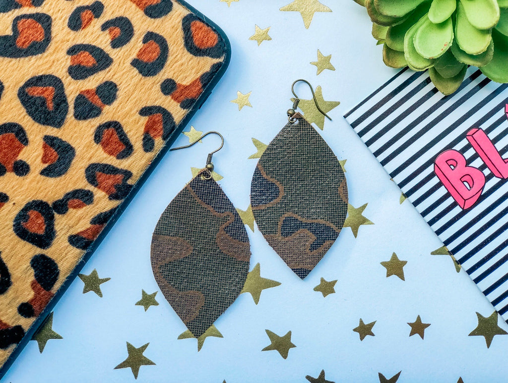 Mini Camo Teardrop Earrings