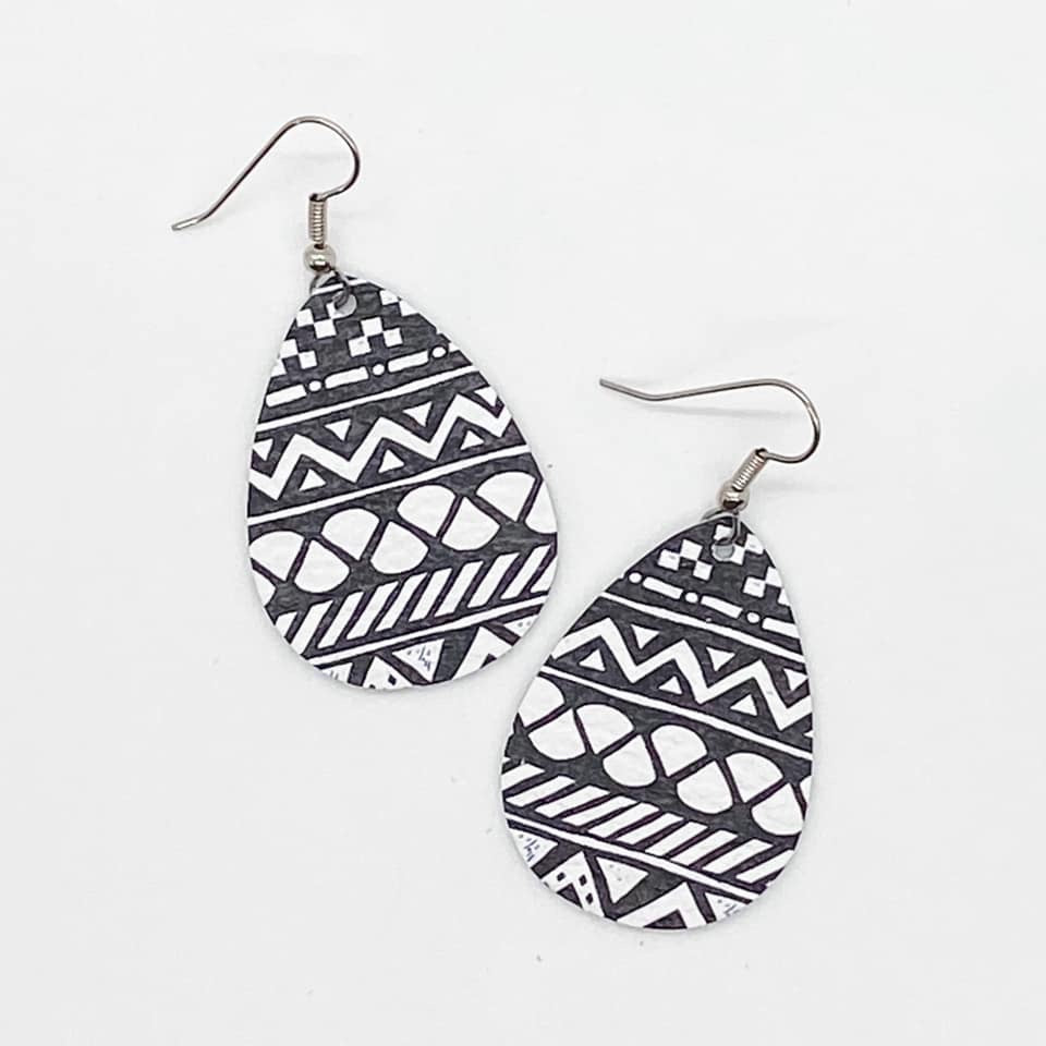 Charcoal Aztec Teardrop Earrings