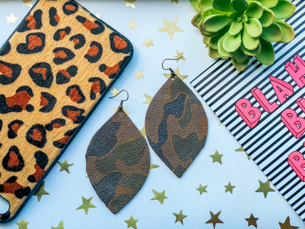 Jumbo Camo Tear Drop Earrings