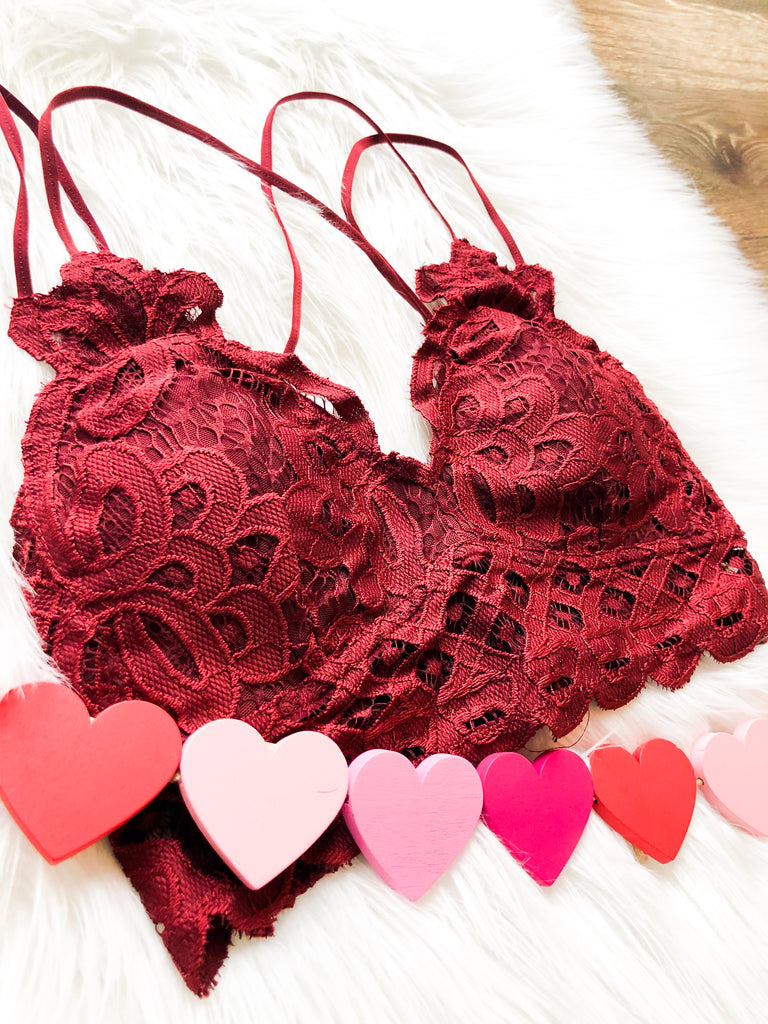Burgundy Scalloped Bralette