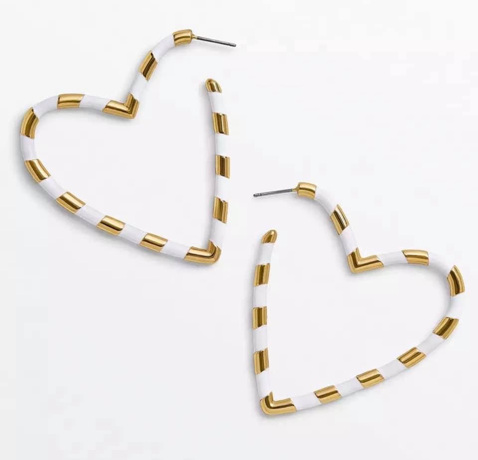White Gold Heart Hoops