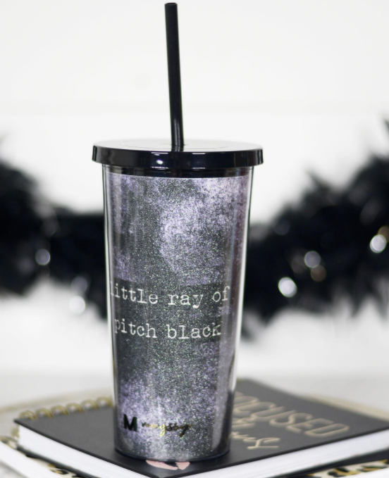 Little Ray of Pitch Black Tumbler with Straw