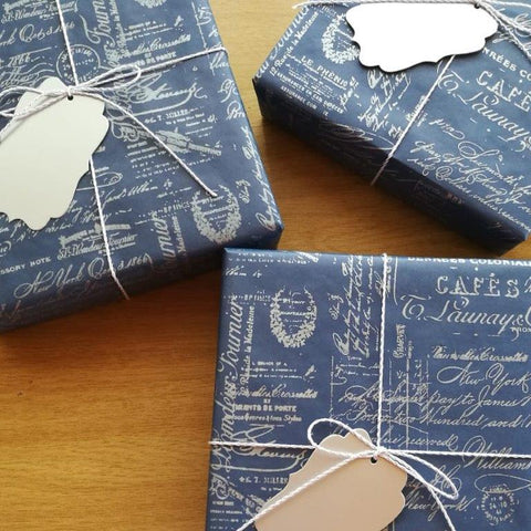 Boss Day Desk Gadget Gift Box wrapped in Vintage Blue Gift Wrap