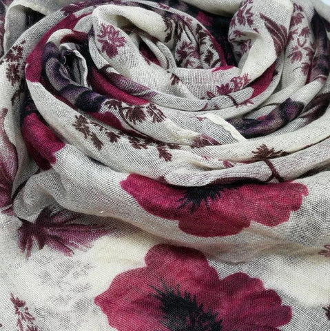 Cream Burgundy Rose Scarf