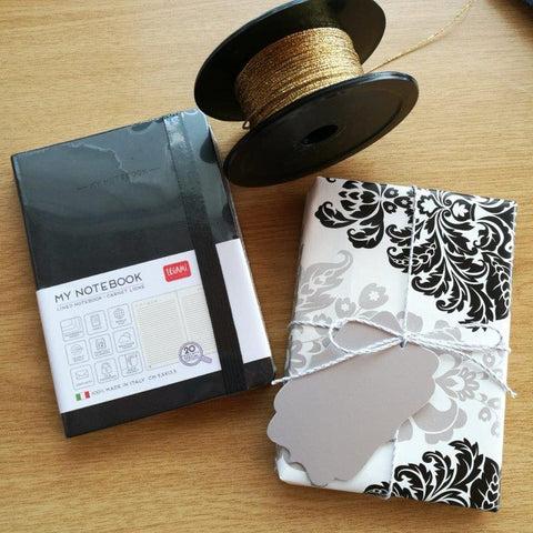 My Notebook from Legami wrapped in Black Damask Gift Wrap