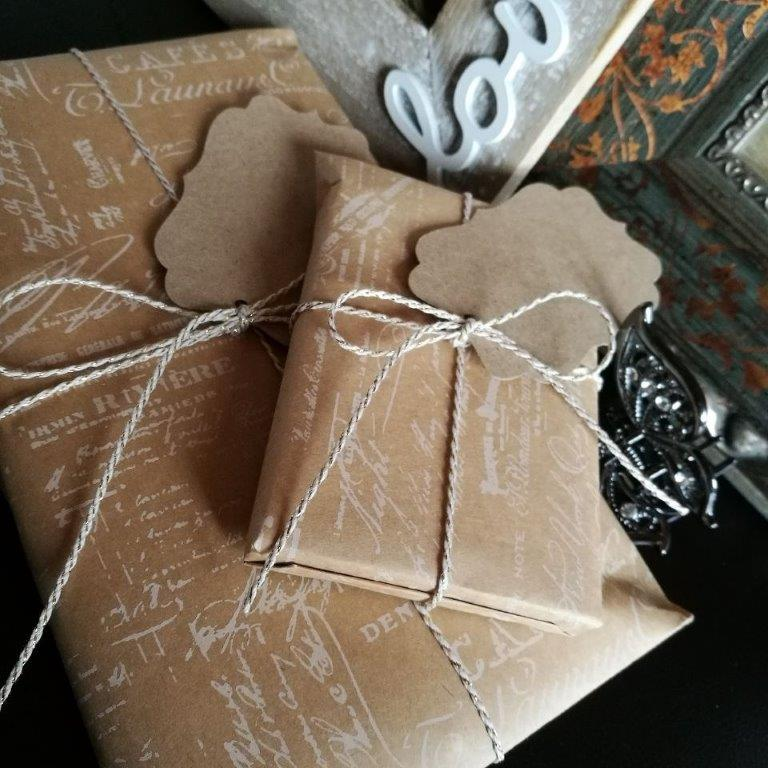 Scarf or Pashmina & Notebook wrapped in Vintage Brown Gift Wrap