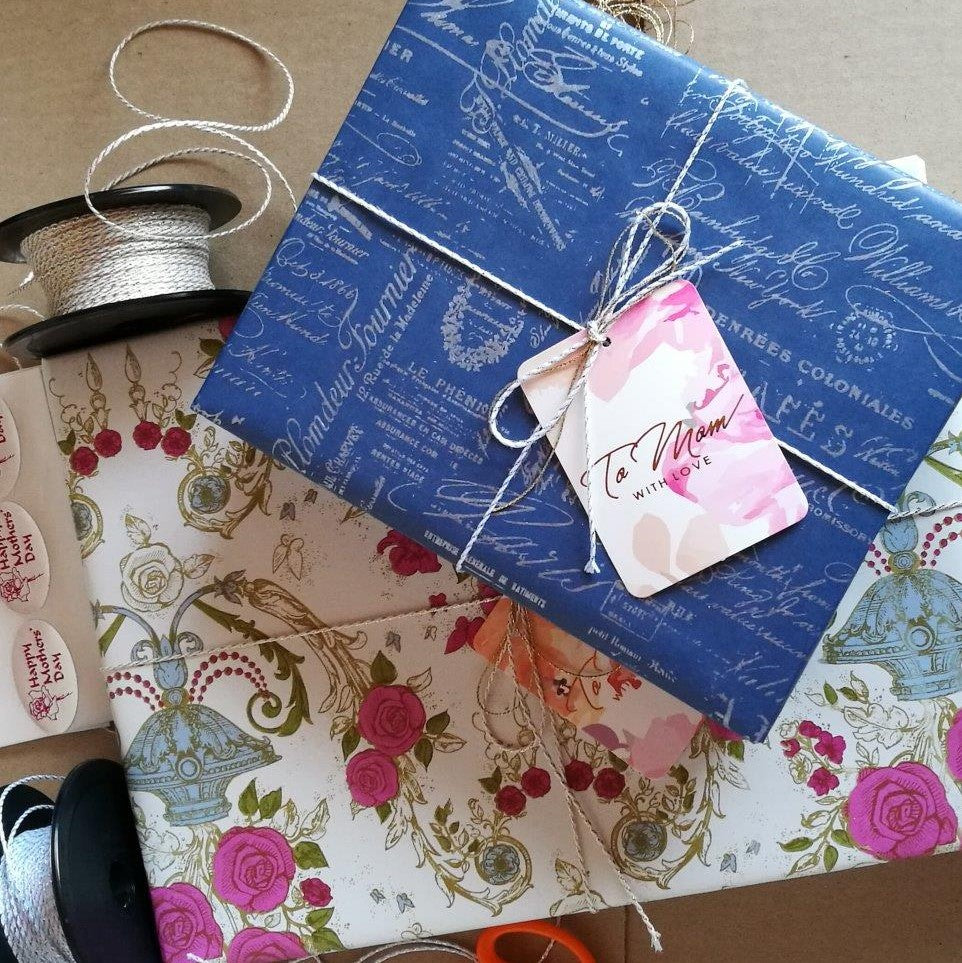 Two Gift Boxes wrapped in Vintage Blue and Floral Gift Wrap