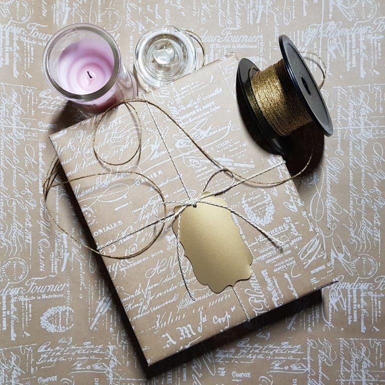 Gift Box wrapped in Vintage Brown Gift Wrap